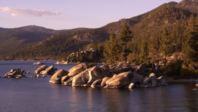 Picturesque static shot of Emerald Bay at Lake Tahoe, California.