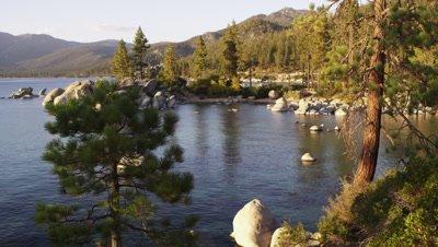 Static shot of shoreline Emerald Bay at Lake Tahoe, California.