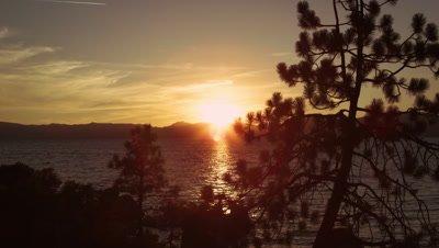 Static shot of sailboat out at Emerald Bay at Lake Tahoe, California.