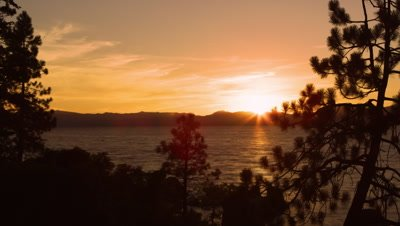 Timelapse shot of Emerald Bay at Lake Tahoe, California, during sunset