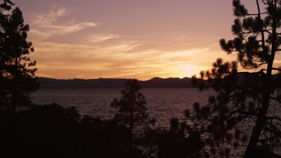Static shot of Emerald Bay at Lake Tahoe, California, during sunset