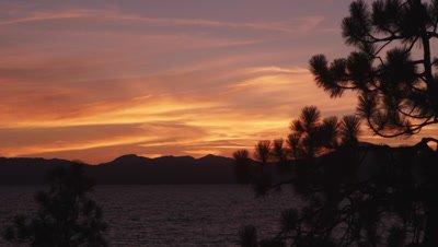 Beautiful sunset above Lake Tahoe at Sand Harbor State Park.
