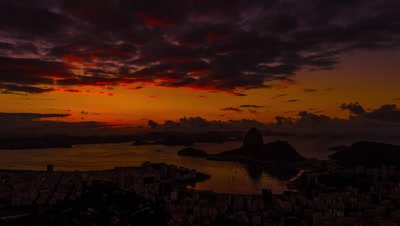 Sunrise time-lapse overlooking Rio de Janeiro and Sugarloaf Mountain.