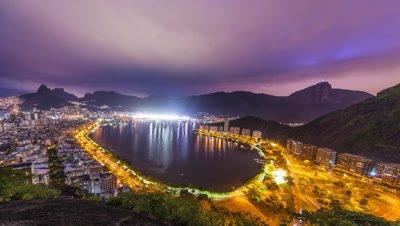 Time lapse overlooking the bay of Rio de Janeiro Brazil