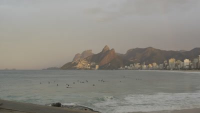 Early-morning surfing at Ipanema beach