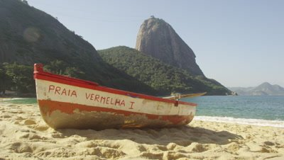 Static shot of a fishing skiff on Red Beach in Rio.