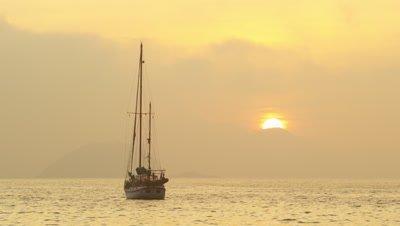 Boat afloat at sea near Rio de Janeiro, Brazil