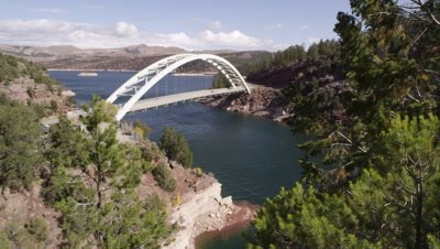 Static view of Cart Creek Bridge at Flaming Gorge in Utah.