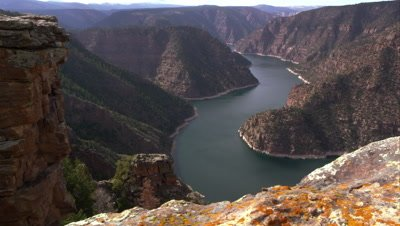 Dolly shot overlooking Flaming Gorge from Red Canyon overlook.