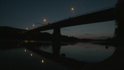 Danube river and bridge at night