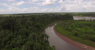 Aerial View Of Tambopata River In Peru