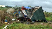 Shanty Hut Blown Apart By Hurricane Winds