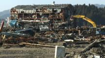 Heavy Machinery In Tsunami Devastation Area In Kesennuma City Japan