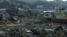Japan Tsunami Aftermath - Large Ship Lies In Devastated Kesennuma City