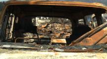 Japan Tsunami Aftermath - Remains Of Car In Burnt Wasteland In Kesennuma City
