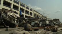 Japan Tsunami Aftermath - Destruction Outside Building In Downtown Rikuzentakata City