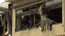 Japan Tsunami Aftermath - Rescue Team In Destroyed Building In Rikuzentakata City