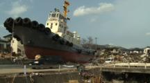 Japan Tsunami Aftermath - Large Boat Rests In Middle Of Ofunato City