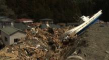 Japan Tsunami Aftermath - Boat Lies On Destroyed Railway Tracks In Shizugawa City