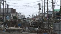 Japan Tsunami Aftermath - Street Filled With Debris In Ishinomaki City