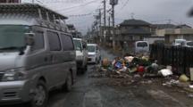 Japan Tsunami Aftermath - Trash Filled Street In Ishinomaki City