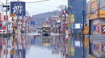 Japan Tsunami Aftermath - Tidal Flooding In Downtown Ishinomaki City