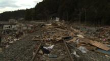 Japan Tsunami Aftermath - Debris Washed Up On Railway Tracks In Shizugawa City