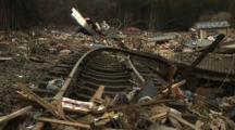 Japan Tsunami Aftermath - Destroyed And Ripped Up Railway Tracks In Shizugawa City