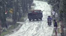 Truck Skids On Road Covered In Volcanic Ash After Major Eruption