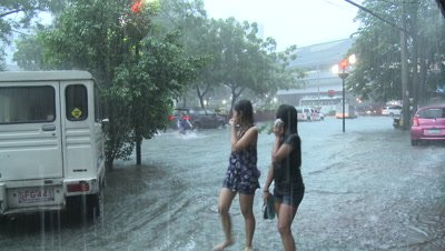 Extreme Urban Flooding In Downtown Manila Philippines
