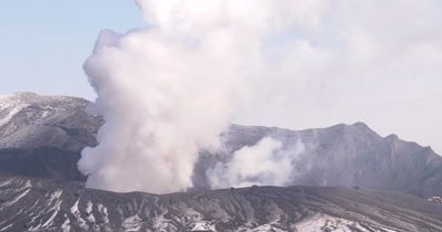 Steam Rises From Crater Of Erupting Volcano