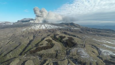 Aerial Footage Volcano Erupts Ash Nearby