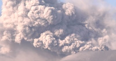 Ash Erupts Vigorously From Volcano Crater Close Up