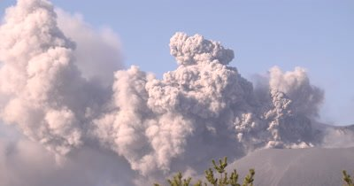 Active Volcano Erupts Ash Into Air During Eruption
