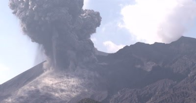 Volcanic Ash Erupts From Volcano After Explosive Eruption Zoom Out