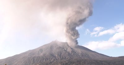 Ash Erupts And Swirls From Volcano Crater