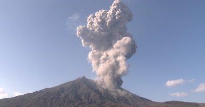 Huge Volcanic Ash Cloud During Large Explosive Eruption Sakurajima Volcano
