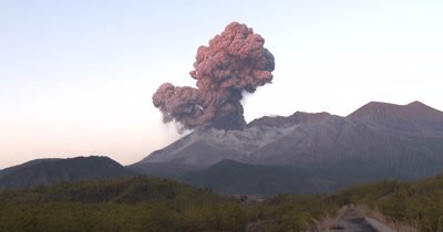 Amazing Volcanic Eruption Explosion In Dawn Light