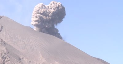 Ash Erupts Vigorously From Volcano Crater