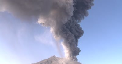 Huge Volcanic Ash Cloud During Large Explosive Eruption Sakurajima Volcano