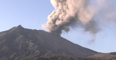 Volcanic Ash Cloud During Large Explosive Eruption Sakurajima Volcano