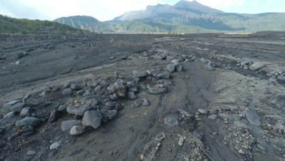 Aerial Footage Dry River Flood Plain Near Volcano