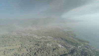 Aerial Footage Of Volcanic Ash Fallout From Volcano