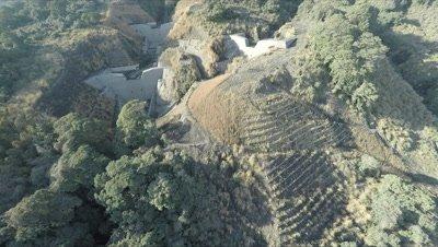 Aerial Footage Thick Vegetation Flood Control Dams
