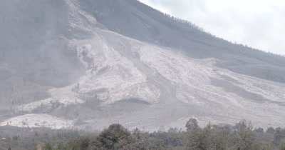 Volcano Pyroclastic Flow Deposits After Eruption