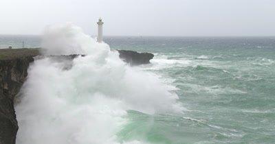 Huge Hurricane Waves Crash Into Cliffs
