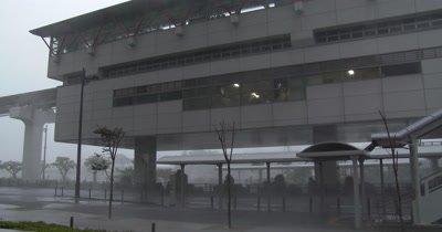 Intense Hurricane Wind Rain Rips Through City