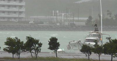 Intense Hurricane Wind Rain Hits Harbor