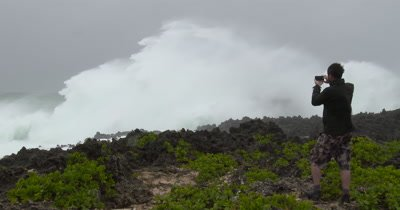 Man Watches Huge Hurricane Waves Crash Ashore