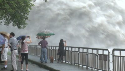 People Watch Huge Flood Water Release At Hydroelectric Plant